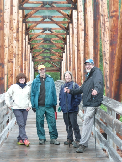 L-R: Christine, Jeremy, Susan and Jim on the longest wilderness pedestrian bridge in the world.
